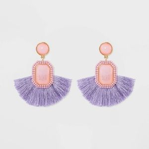NWT Sugarfix Baublebar fringe drop earrings lilac